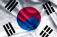 South Korea. Stylish waving and closeup flag illustration. Perfect for background or texture purposes royalty free illustration