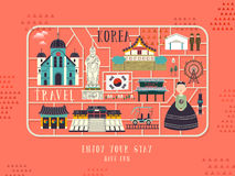 South Korea travel concept poster Stock Photo