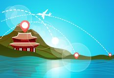 South Korea Travel Landmark Landscape Beautiful Temple In Mountains On Lake Or River View Asian Travel Destinations. Concept Flat Vector Illustration royalty free illustration