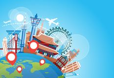 South Korea Travel Landmarks Plane Fly Over Famous Korean Buildings Vacation Destination Concept. Flat Vector Illustration Royalty Free Stock Images
