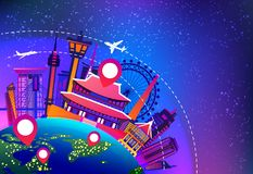 South Korea Travel Landmarks Plane Fly Over Night Famous Korean Buildings Vacation Destination Concept. Flat Vector Illustration Stock Images