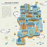 South Korea travel map Royalty Free Stock Photo