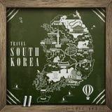 South Korea travel map Royalty Free Stock Photography