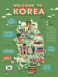 South Korea travel map Royalty Free Stock Photo