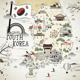 South Korea travel map Royalty Free Stock Image