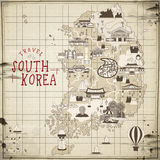 South Korea travel map Royalty Free Stock Photography