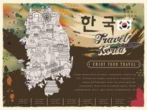 South Korea travel map Royalty Free Stock Photos