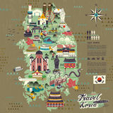 South Korea travel map Stock Photos