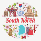 South Korea travel poster in circle. Korea Journey banner with korean objects Stock Photography