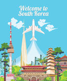 South Korea travel poster with korean city. Korea Journey banner with korean objects Royalty Free Stock Images