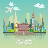 South Korea travel poster with korean city. Korea Journey banner with korean objects Royalty Free Stock Photography