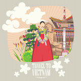 South Korea travel poster with korean woman. Korea Journey banner with korean objects Stock Image