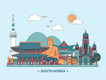 South Korea travel poster. Lovely South Korea travel poster design in flat style Stock Images