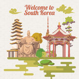 South Korea travel poster in retro style. Korea Journey banner with korean objects Royalty Free Stock Image