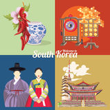 South Korea travel poster set with korean symbols. Korea Journey banner with korean objects Royalty Free Stock Photography