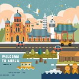 South Korea travel poster Royalty Free Stock Image