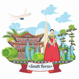South Korea travel vector card with pagodas and traditional signs. Korea Journey card with korean objects Royalty Free Stock Images