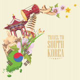 South Korea travel vector poster with pagodas, tradition clothes and signs. Korea Journey card with korean objects Royalty Free Stock Photo