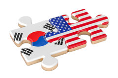South Korea and USA puzzles from flags, 3D rendering Royalty Free Stock Photos