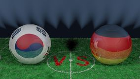 South Korea versus Germany. 2018 FIFA World Cup.Original 3D image. June 27, South Korea vs Germany 2018 FIFA World Cup.Original 3D image. Two balloons above a Royalty Free Stock Image