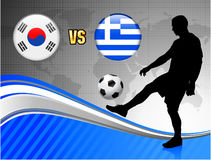 South Korea Versus Greece On Blue Abstract World Map Background Stock Photography