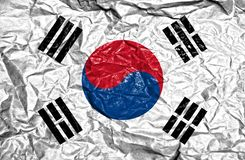 South Korea vintage flag on old crumpled paper background stock photo