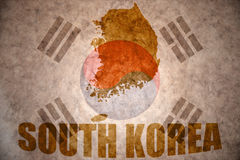 South korea vintage map. South korea map on a vintage korean flag background royalty free stock images