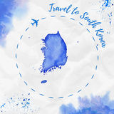 South Korea watercolor map in blue colors. Travel to South Korea poster with airplane trace and handpainted watercolor South Korea map on crumpled paper stock images