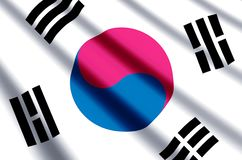 South Korea. Waving and closeup flag illustration. Perfect for background or texture purposes royalty free illustration