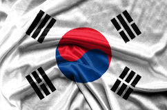 South Korea waving flag. Fabric background stock images