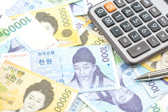 South Korea won money bills in Different value Stock Photo