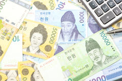 South Korea won money bills in Different value Stock Photography