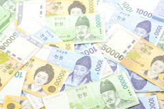 South Korea won money bills in Different value Stock Image