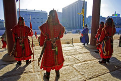 South Korean archer costume. Gyeongbokgung Palace, a South Korean dressed in traditional clothing carrying a bow and arrow soldiers guarding the front door Stock Photo