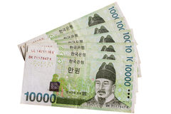 South Korean Currency. The Won South Korean Currency Money Bank Notes Stock Photography