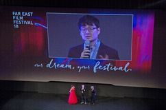 South Korean director Hoon-jung Park. On the stage of the Far East Film Festival in Udine, Italy, presenting his movie The tiger Stock Photos