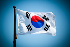 South Korean Flag. Blowing in the wind royalty free stock photos