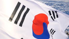 The South Korean Flag with Blue Skies.  stock photo