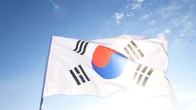 The South Korean Flag with Blue Skies.  royalty free stock image