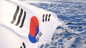 The South Korean Flag with Blue Skies.  royalty free stock photo