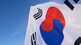 The South Korean Flag with Blue Skies.  royalty free stock photography