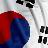 South Korean Flag Closeup Royalty Free Stock Photo