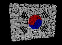 South Korean flag on cubes Royalty Free Stock Photos