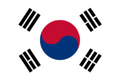 South Korean Flag. Depiction of the South Korean flag over a white background stock illustration