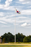 South Korean Flag. A South Korean flag flaps in the wind outside of the National Assembly of South Korea in Seoul stock photo