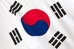 South Korean Flag. Korean flag. Korean flag flying in the wind royalty free stock images
