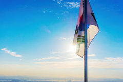 South Korean flag. From mountain peak royalty free stock images
