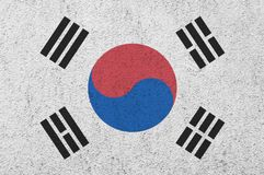 South Korean flag painted on the wall. South Korean flag painted on the wall background royalty free stock photo