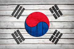 South Korean flag painted on wooden boards Stock Photo