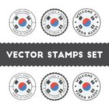 South Korean flag rubber stamps set. Stock Photography